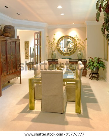 Luxurious Dining Room in New Home - stock photo