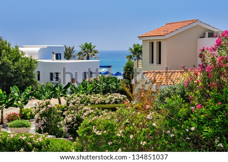 Luxurious holiday beach villas for rent on Cyprus - stock photo