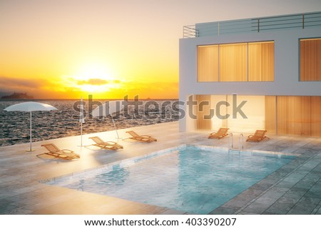 Luxurious hotel exterior with swimming pool at sunset. 3D Rendering - stock photo