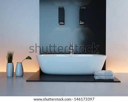 Luxurious illuminated bathroom interior with white bathtub - stock photo