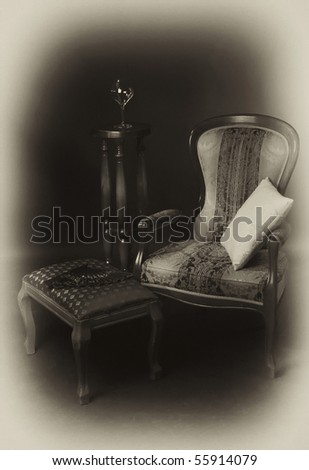 Luxurious interior in the aristocratic style. Old photo style - stock photo