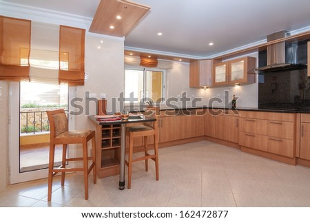 Luxurious kitchen with dishes for breakfast.  - stock photo