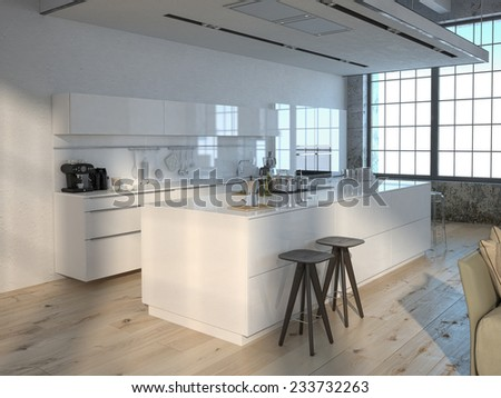 Luxurious kitchen with stainless steel appliances. 3d rendering - stock photo