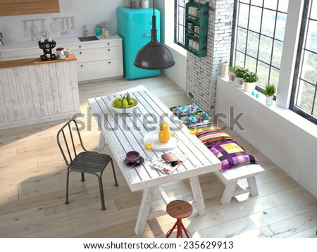Luxurious kitchen with stainless steel appliances in a apartment. 3d rendering - stock photo