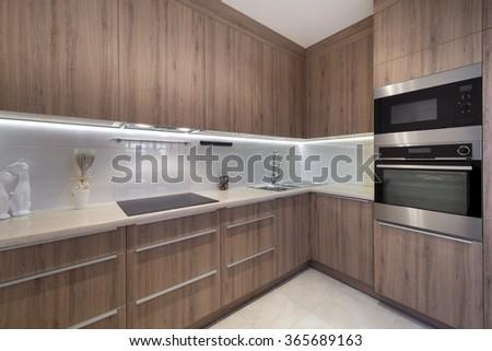 Luxurious modern kitchen design interior - stock photo