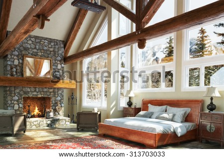 Luxurious open floor cabin interior bedroom design with roaring fireplace and winter scenic background. Photo realistic 3d model scene.    - stock photo