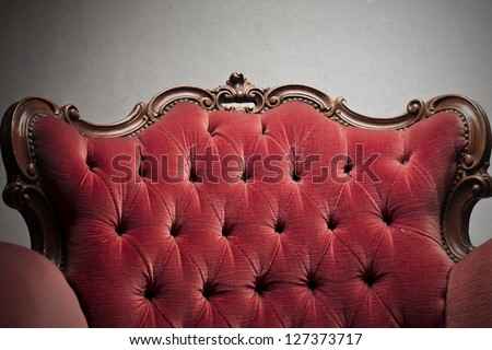 luxurious red armchair - stock photo