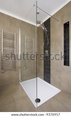 Luxurious shower in contemporary home - stock photo
