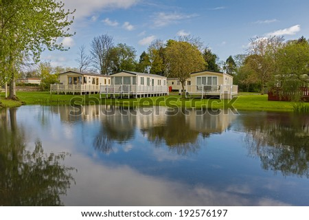 Luxurious Static Caravans in a Holiday Park  - stock photo