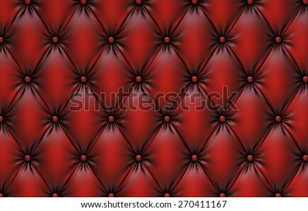luxurious texture of red leather upholstery. - stock photo