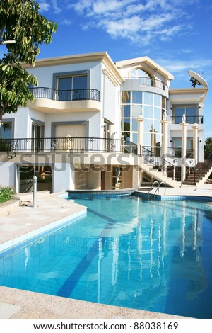 Luxurious villa and swimming pool in Cyprus. - stock photo