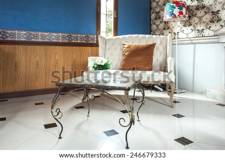 Luxurious Vintage White color Sofa decorate in Arabian Classic Theme - stock photo