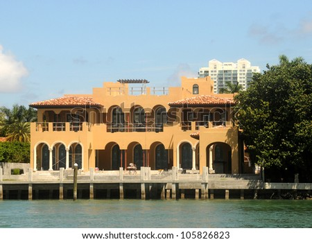 Luxurious waterfront mansion under construction in Miami, Florida - stock photo
