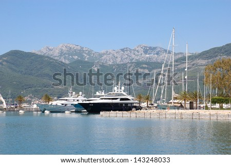 luxurious yachts in port of Tivat, Montenegro - stock photo