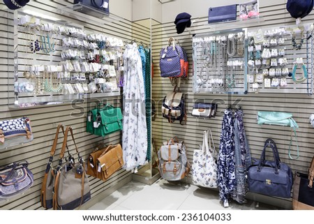 luxury and fashionable brand new interior of accessories store - stock photo