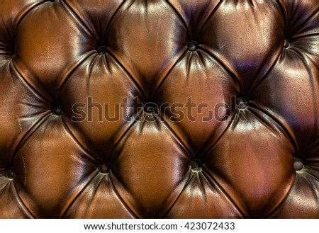 Luxury and grungy background of classic shabby leather texture of a couch with leather buttons - stock photo