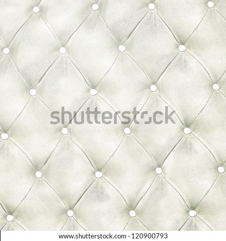 Luxury and modern style background with classic white and gray leather texture of an old retro door with metal buttons - stock photo