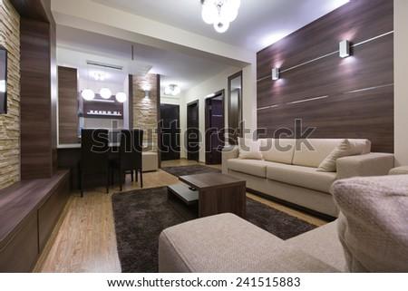 Luxury apartment interior in the evening - stock photo