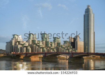 Luxury apartments in Vauxhall witn a new built skyscraper - stock photo
