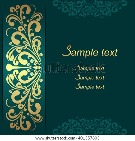 Luxury Background with ornamental Border for invite design. Raster version. - stock photo
