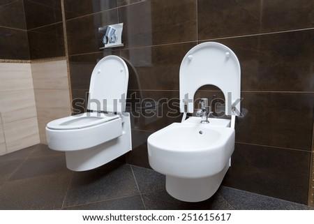 Luxury bathroom closeup - the water-closet and bidet. - stock photo