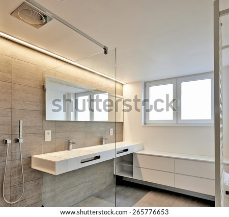 luxury bathroom estate home - stock photo