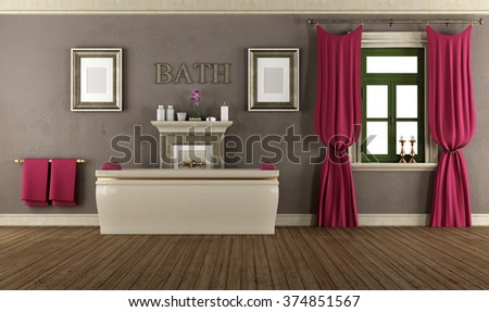 Luxury bathroom in old style with elegant bathtub,window and curtain - 3D Rendering - stock photo