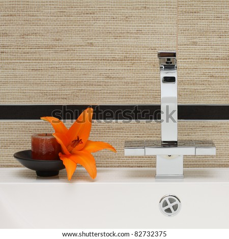 Luxury Bathroom Interior Background - Sink, Faucet and Ceramic Tile - stock photo