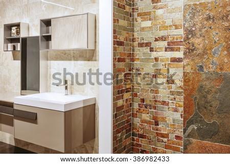 Luxury bathroom interior design. Stone wall - stock photo
