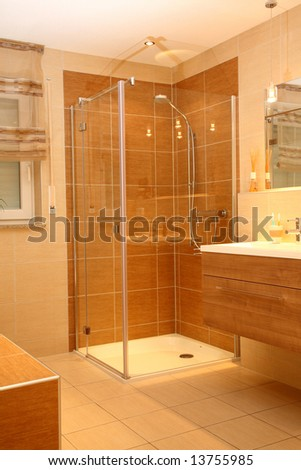 Luxury bathroom with a modern shower. - stock photo