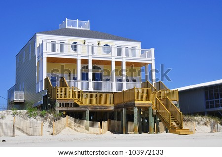 Luxury beach rental home - stock photo