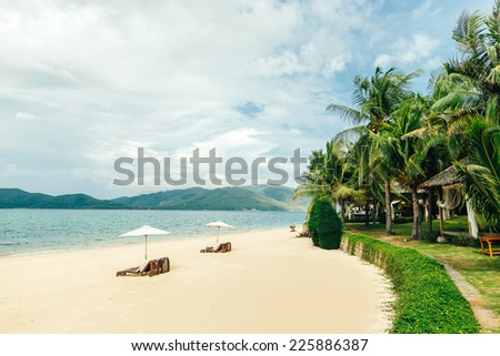luxury beach resort with sunbeds and umbrellas, palms, with no people, holiday resort in Vietnam, Hon Tam beach - stock photo