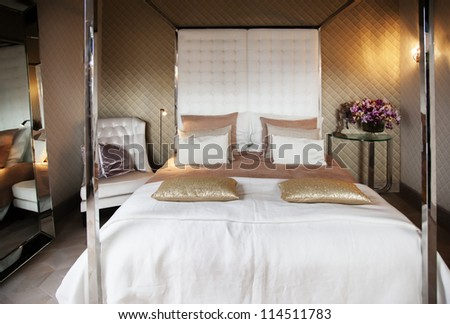 luxury bed room - stock photo
