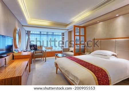 luxury bedroom in hotel  - stock photo