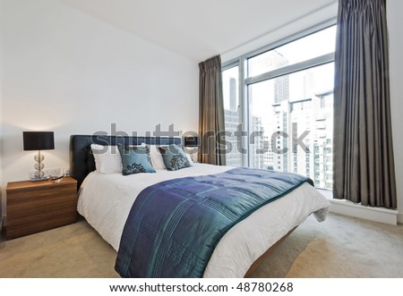 luxury bedroom with contemporary furniture and accessory - stock photo