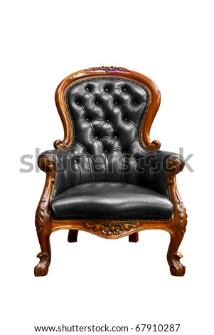 luxury black leather armchair isolated - stock photo