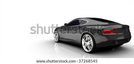 Luxury British sports Car in silver isolated on white - stock photo