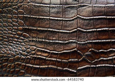luxury brown crocodile leather texture - stock photo