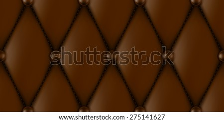 luxury brown leather upholstery seamless pattern - stock photo