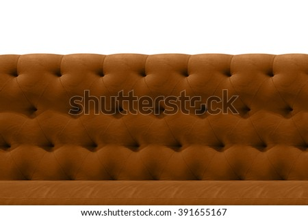 Luxury Brown sofa velvet cushion close-up pattern background on white - stock photo