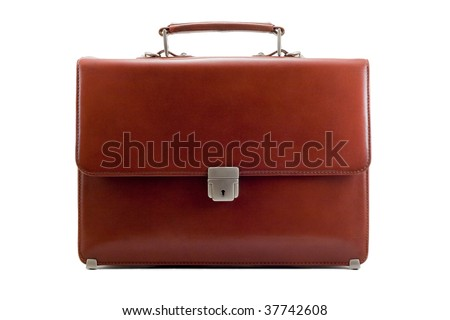 Luxury business brown brief-case on a pure white background - stock photo