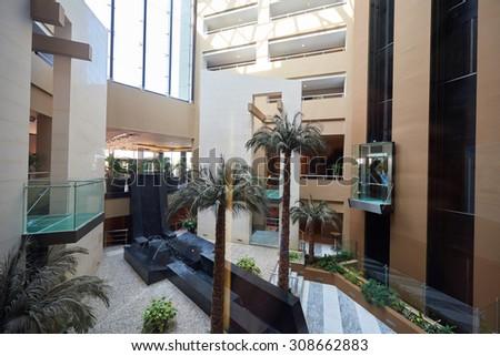 luxury business hotel lobby interior with modern design - stock photo