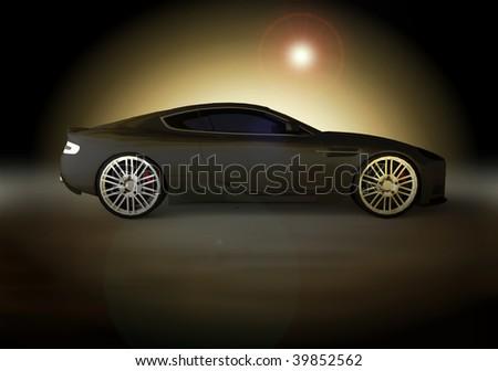 luxury business sports car / sportscar at sunset / sunrise - stock photo