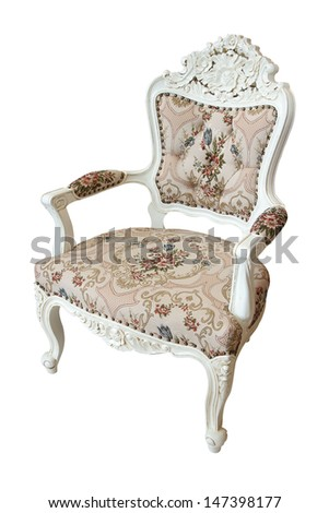 Luxury chair isolated on white background. Clipping path in picture. - stock photo