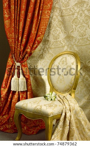 Luxury chair with beautiful curtain background - stock photo