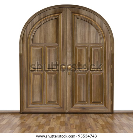Luxury classic doors and parquet walnut color. Isolated on white. - stock photo