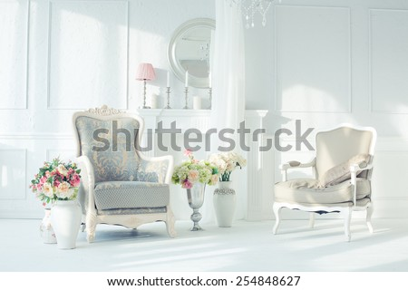 luxury clean bright white interior - stock photo
