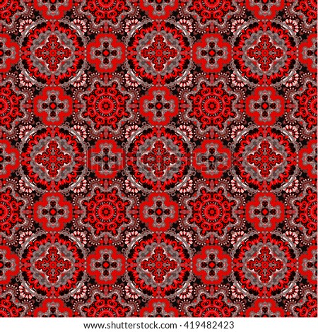 Luxury colorful floral seamless pattern background. Ornamental round lace pattern, circle red gray black background - stock photo