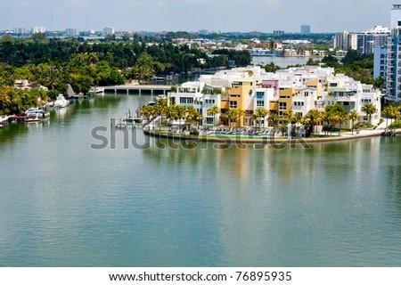 Luxury condominium units in Indian Creek, Miami Beach. - stock photo