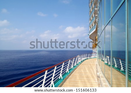 Luxury Cruise Liner Sails in Ocean - stock photo